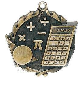 "Medal, ""Math W/ Calculator"" Wreath - 2-1/2"" Dia."