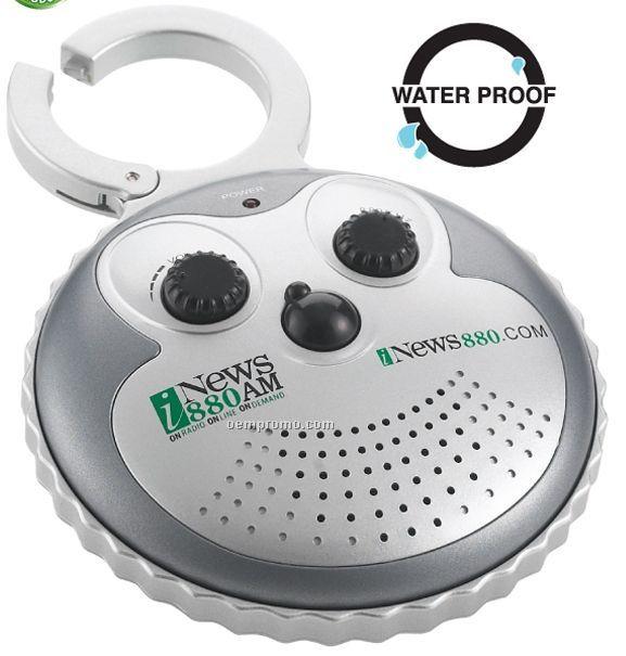 The Waterproof AM/FM Waterproof Shower Radio W/ Clip