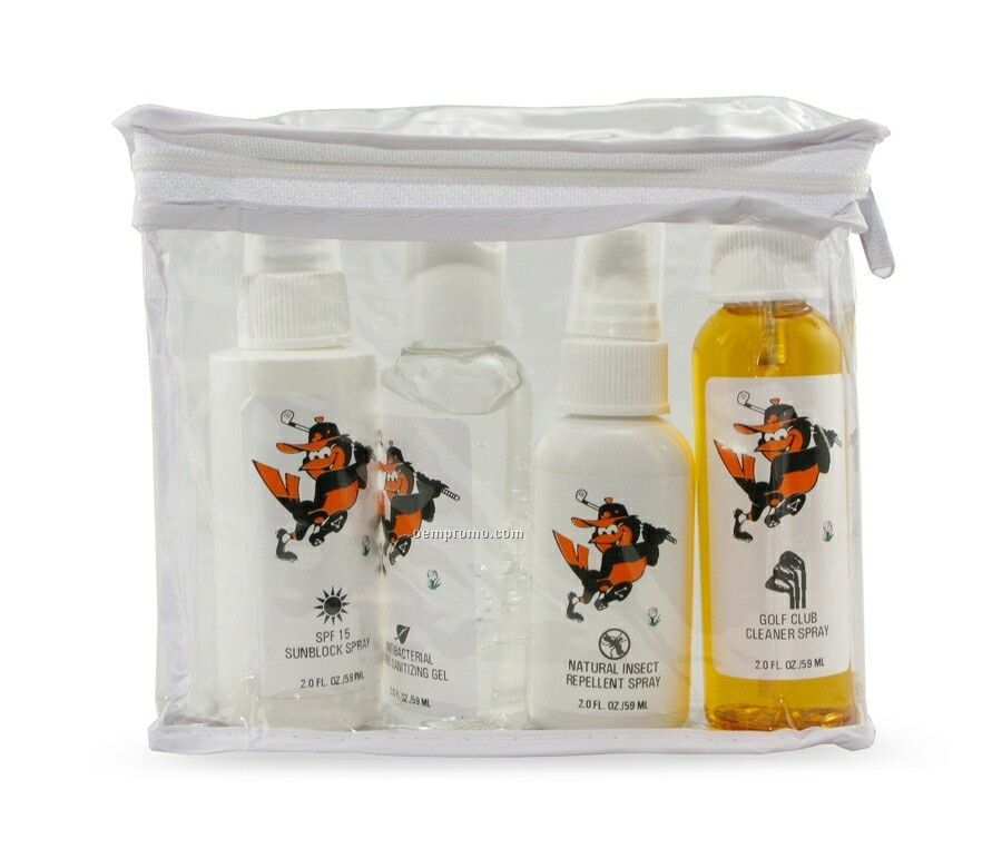 4 Pack Golfer's Outdoor Protection Kit W/ 2 Oz. Cleaners & Sunscreen
