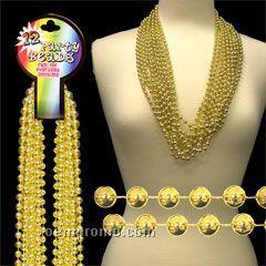 "33"" Metallic Gold Round Beads Necklace"