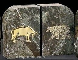 Green Marble Gold Plated Stock Market Bookends