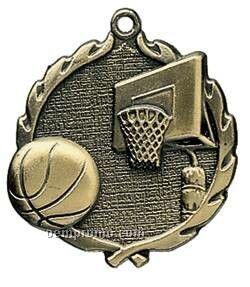 """Medal, """"Basketball"""" Wreath - 2-1/2"""" Dia."""