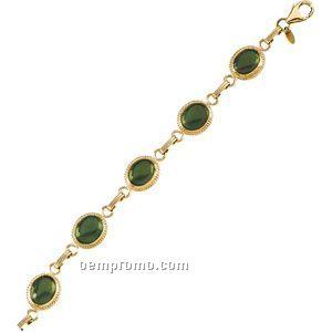 Ladies' 14ky 10x8 Cab Genuine Jade Bracelet