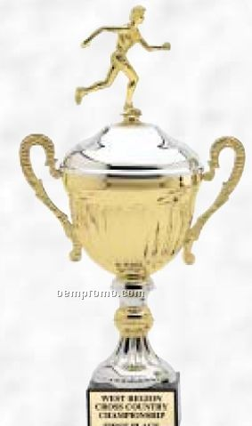 "17 1/2"" Trifecta Series Trophy Cup W/ Plastic Riser On Genuine Marble Base"