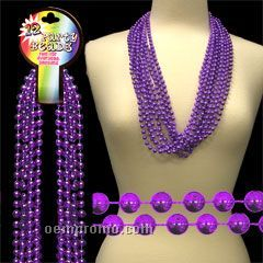 "33"" Metallic Purple Round Beads Necklace"