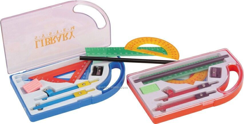 "Math Set W/ 7"" Pencil/ Compass/ Eraser/ Sharpener/ Ruler"