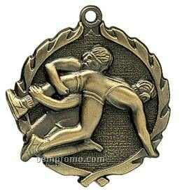 "Medal, ""Wrestling"" Wreath - 2-1/2"" Dia."