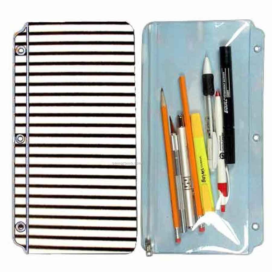 3d Lenticular Pencil Pouch (White/Black Stripes)