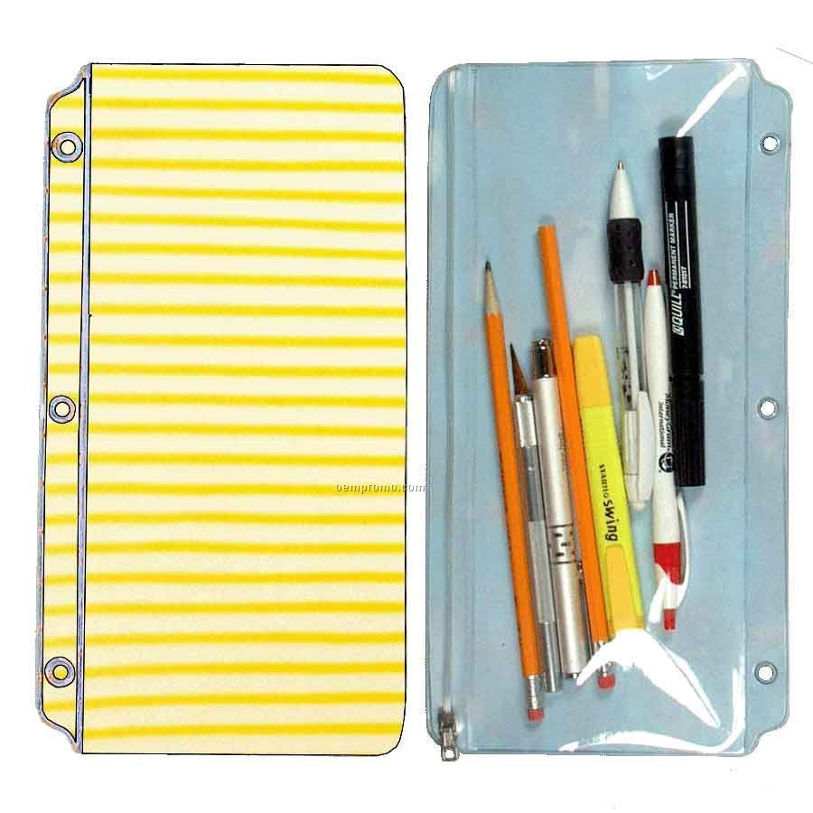 3d Lenticular Pencil Pouch (White/Yellow Stripes)