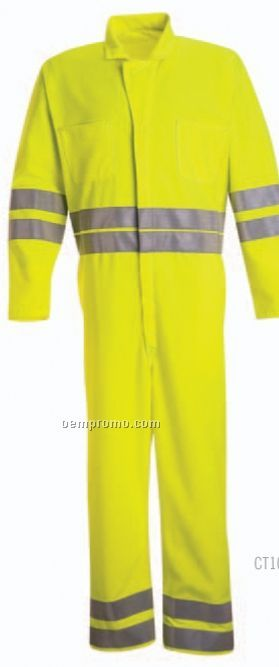 Hi-visibility Zip Front Coverall (Fluorescent Yellow/ Green)
