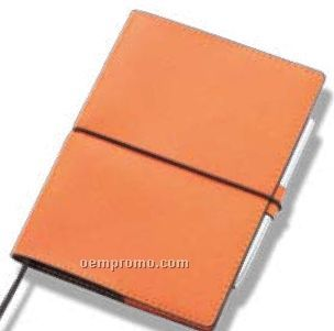 Pu Leatherette Medium Sized A6 Notebook W/ Pen