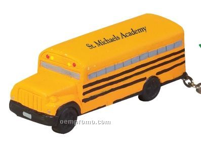 School Bus Squeeze Toy Key Chain
