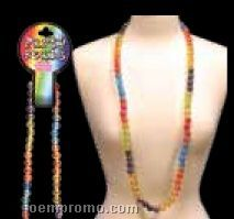 """42"""" Red/ Silver/ Blue Round Bead Necklace"""