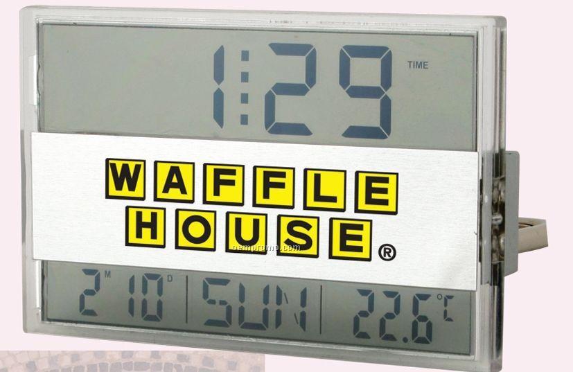 Brushed Metal Duo Screen Alarm Clock