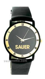 Ladies' Trendy Collection Watch W/Black Case & Gold Roman Numeral Bezel