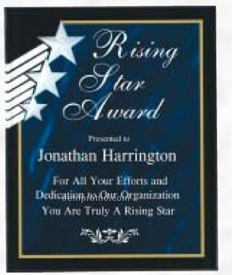 """Rising Star Acrylic Plaque In Blue Marble (8""""X10"""")"""