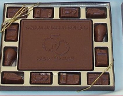 4 Oz. Custom Piece With 12 Chocolate Icons In Gift Box