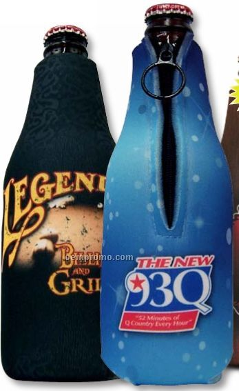 Custom Digitally Printed Full Color Zipper Bottle Koozie