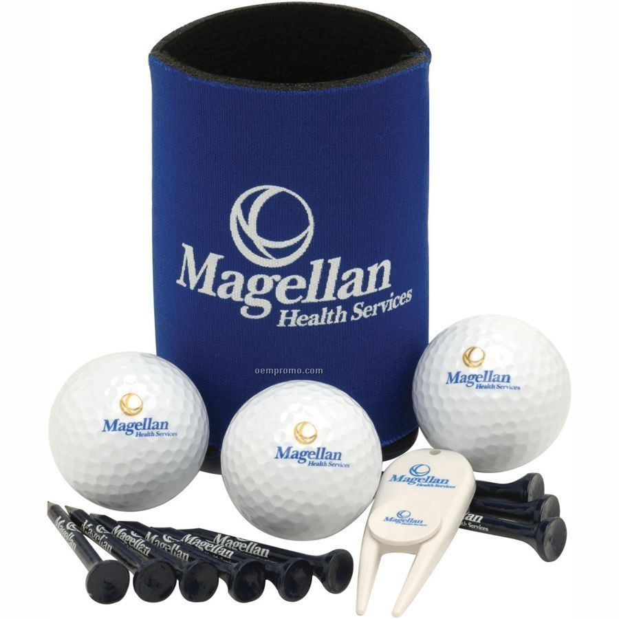 Collapsible Kan Cooler Event Pack W/ Authoritee Golf Balls
