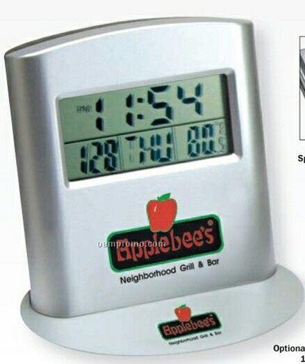 Versatile Travel Size Alarm Clock W/ Engravable Metal Plate