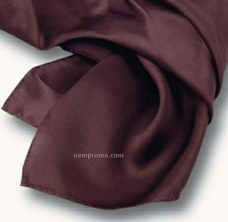 "Wolfmark Solid Series Chocolate Brown Polyester Satin Scarf (45""X8"")"