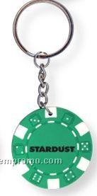 Green Poker Chip Keychain (Printed)