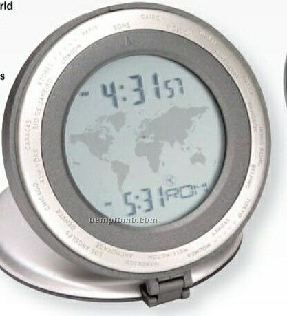 Round Executive World Time Alarm Clock W/ Dual Time Display