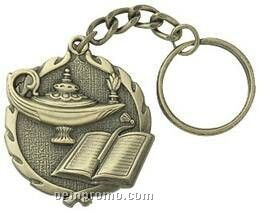 """Medal, Lamp Of Knowledge 1-1/4"""" On Key Chain"""