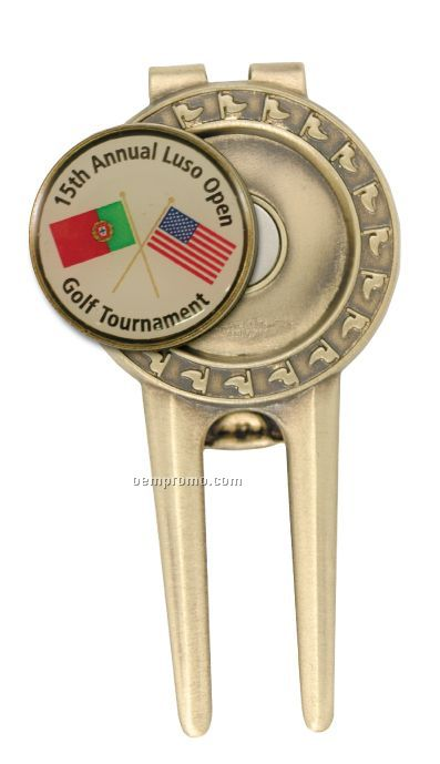 Solid Brass Divot Tool W/ Spring Money Clip Back And Full Color Ball Marker