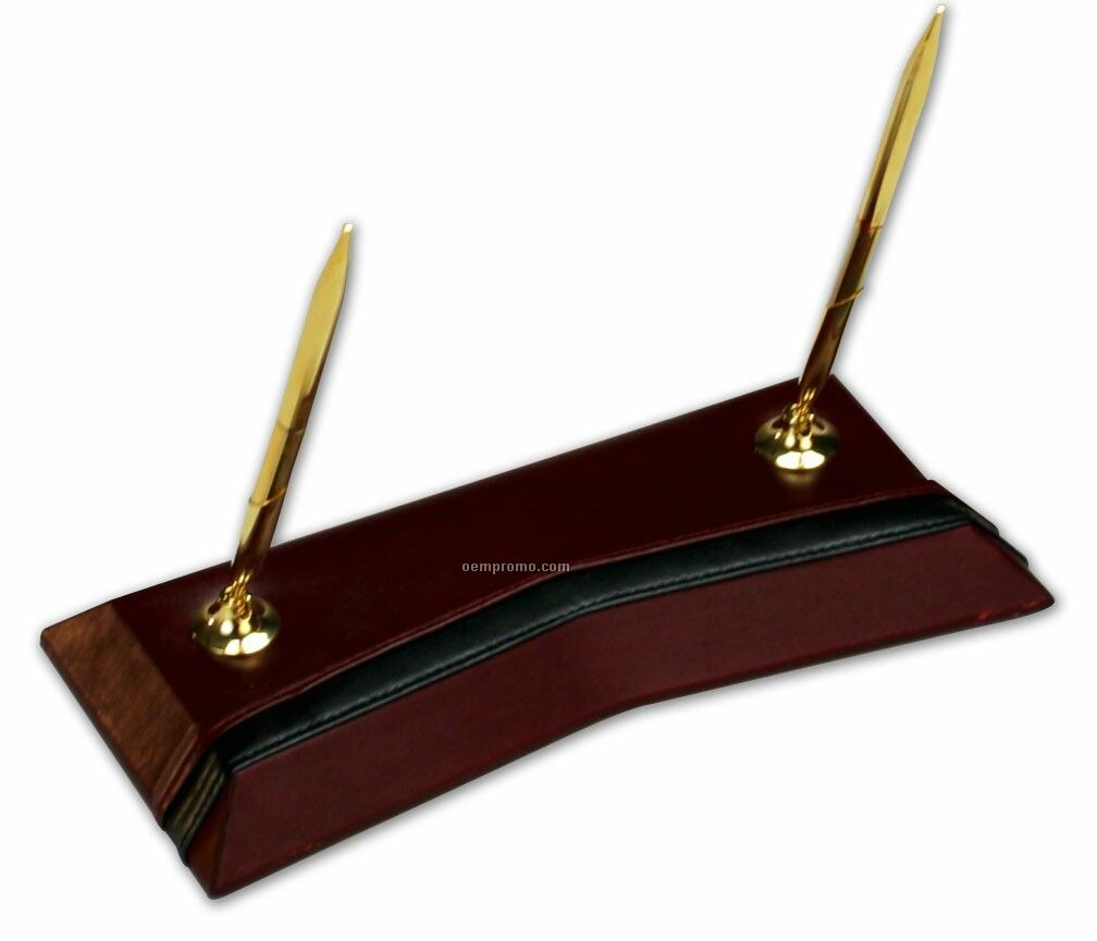 Burgundy Red Contemporary Leather Double Pen Stand