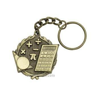 """Medal, """"Math"""" 1-1/4"""" Key Chain"""