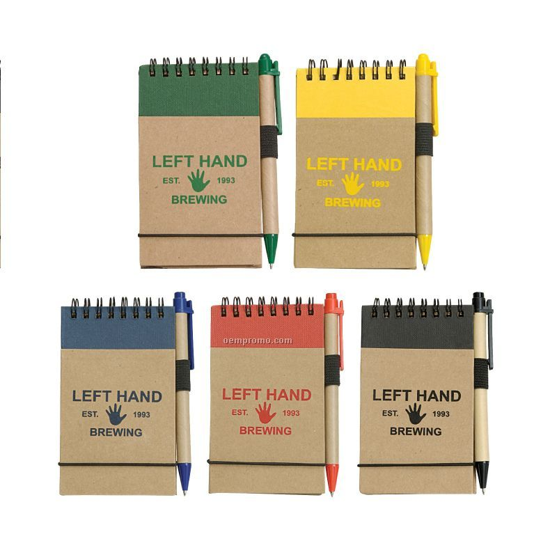 Mini Recycled Spiral Notebook W/Matching Colored Pen
