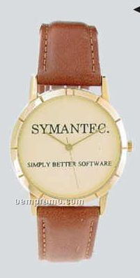 Ladies' Gold Collection Watch W/Leather Band