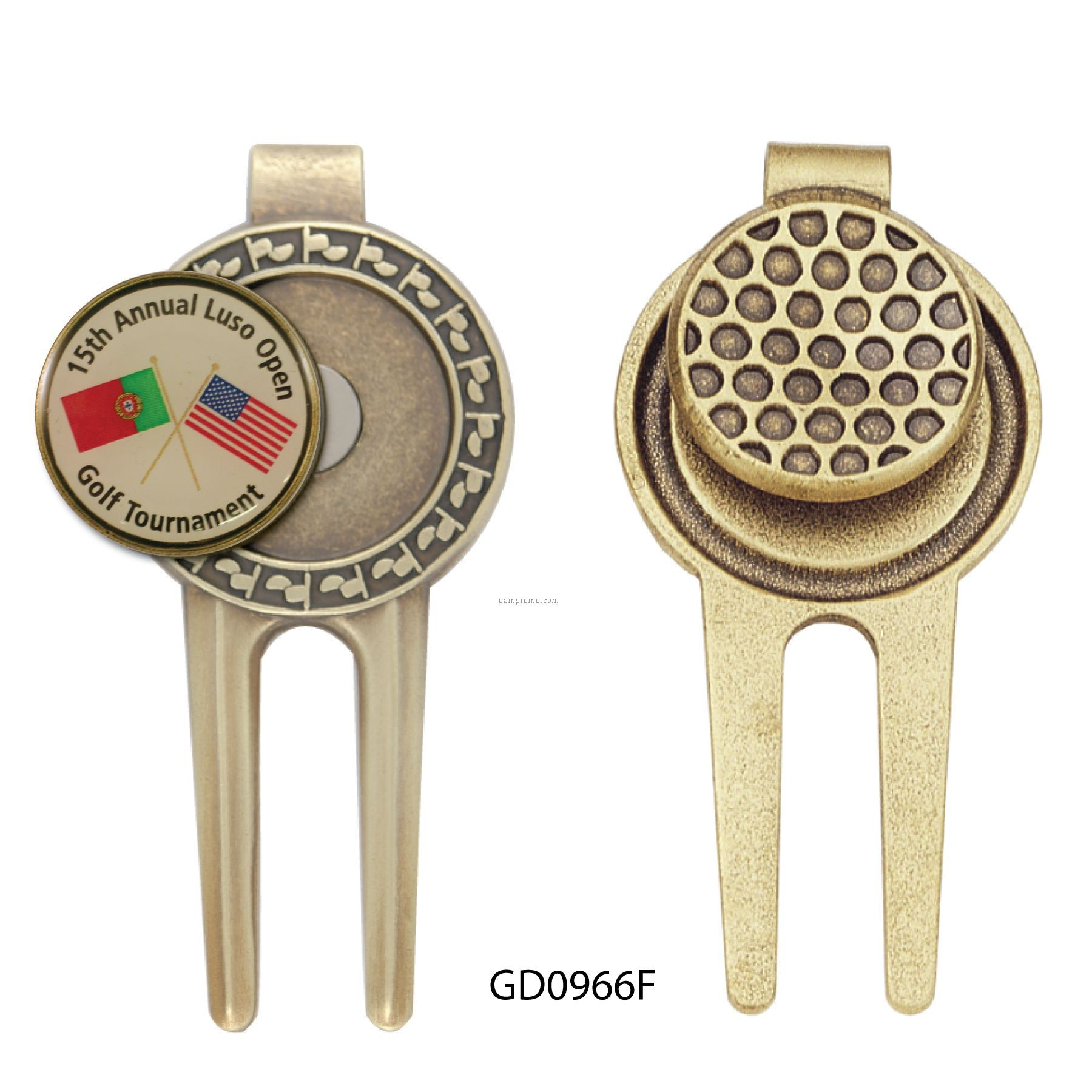 Solid Brass Divot Tool With Magnetic Ball Marker And Ball-shaped Money Clip
