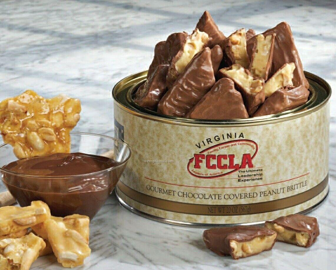 Chocolate Covered Peanut Brittle In Tin W/ Custom Label 40 Oz.