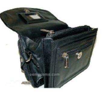 Rosalind Cowhide Top Handle Mini Bag W/ Multiple Zipper Pocket