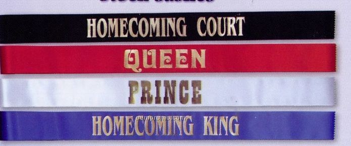 "3""X72"" Stock Sash Titles / Homecoming Court"