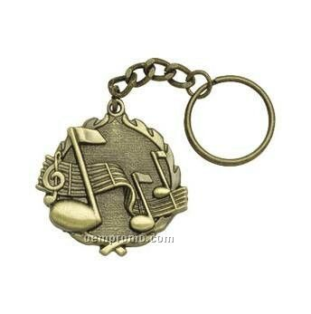"Medal, ""Music"" - 1-1/4"" Key Chain"