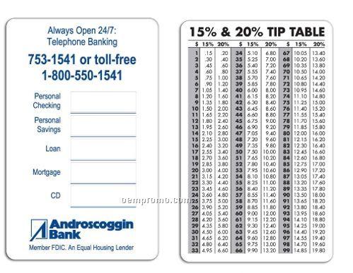 tip percentage chart