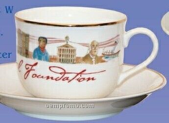 """8 Oz. Porcelain Cup With 5 3/4"""" Saucer"""