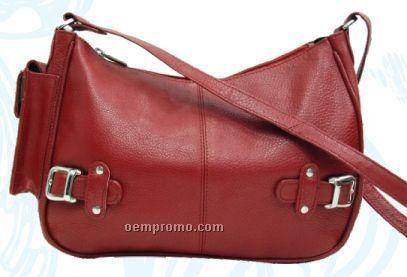 Ladies Multi Color Jasmine Mid Size Top Zip Bag W/ 2 Buckles