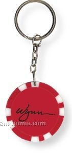 Red Light-up Poker Chip Keychain (Printed)