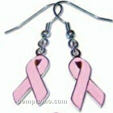Pink Ribbon Earrings