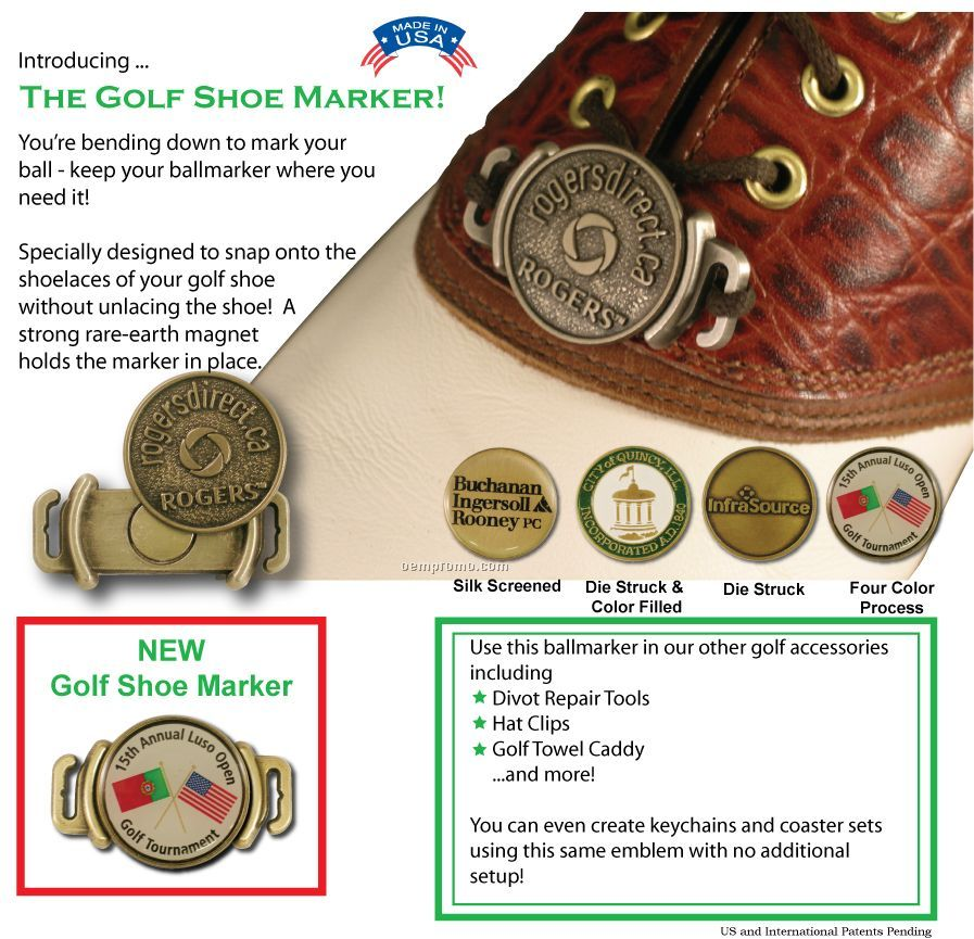 """Golf Shoe Marker (1"""") With Full Color Ballmarker"""