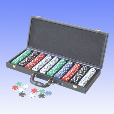 500 Pcs Dice Poker Chips W/ Alligator Case (Screened)