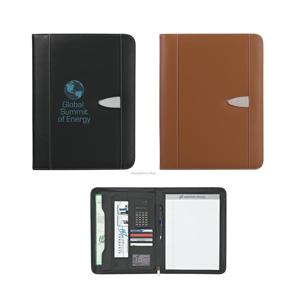 Eclipse Bonded Leather Zippered Portfolio W/ Calculator