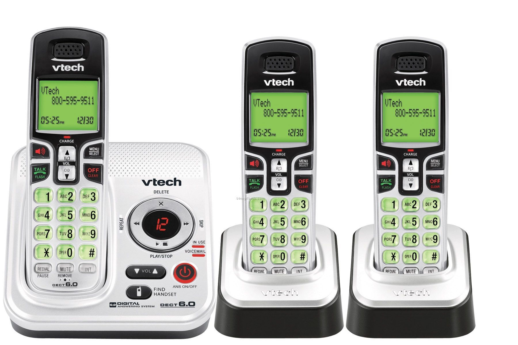 Vtech Expandable Dect 6.0 Cordless Phone System W/ 3 Handsets