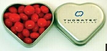 Silver Heart Tin Filled W/ Red Hots
