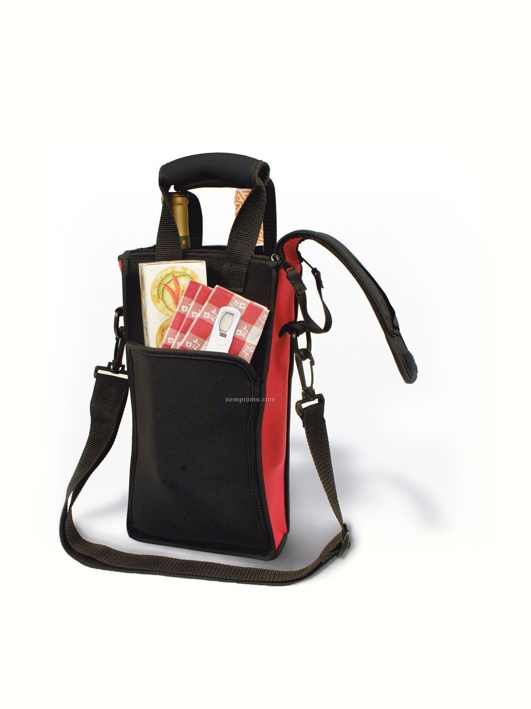 Zip-n-go Picnic Neoprene 2 Bottle Wine Bag With Traveler's Corkscrew- Boxed
