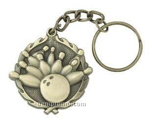 """Medal, """"Bowling"""" - 1-1/4"""" Key Chain"""